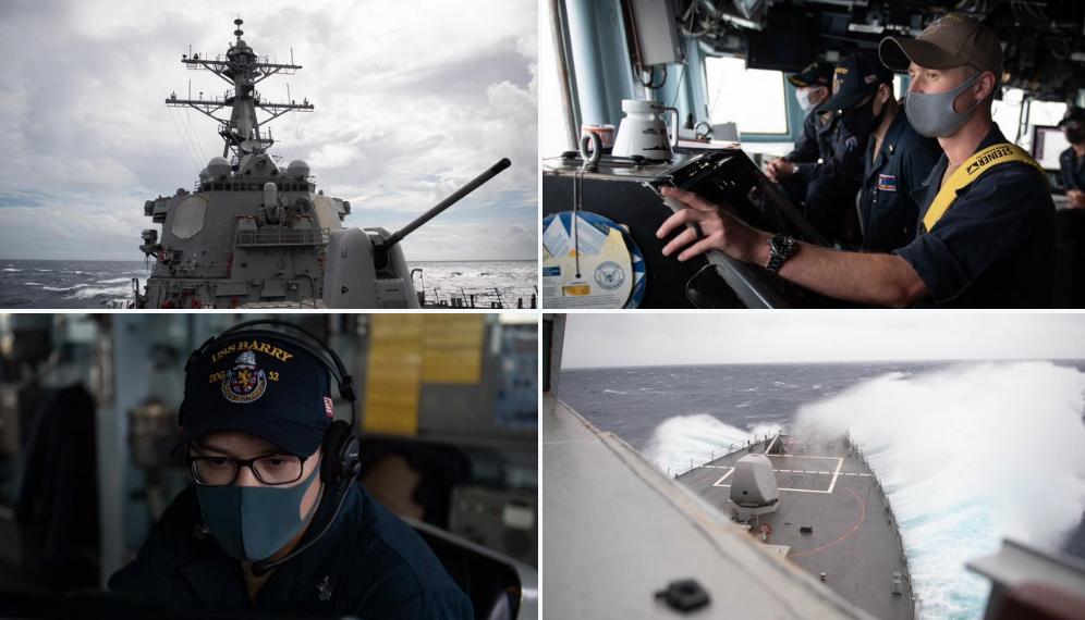 美军第七舰队属下的巴里号导弹驱逐舰10月14日巡航台湾海峡 (圖片:@USPacificFleet推特)