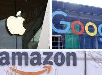 美國的幾大科技公司,蘋果、谷歌、亞馬遜和臉書等都在其各自的領域佔到市場份額的接近一半到大半,對各自市場已經造成壟斷的嫌疑。(圖片來源:美聯社合成圖)